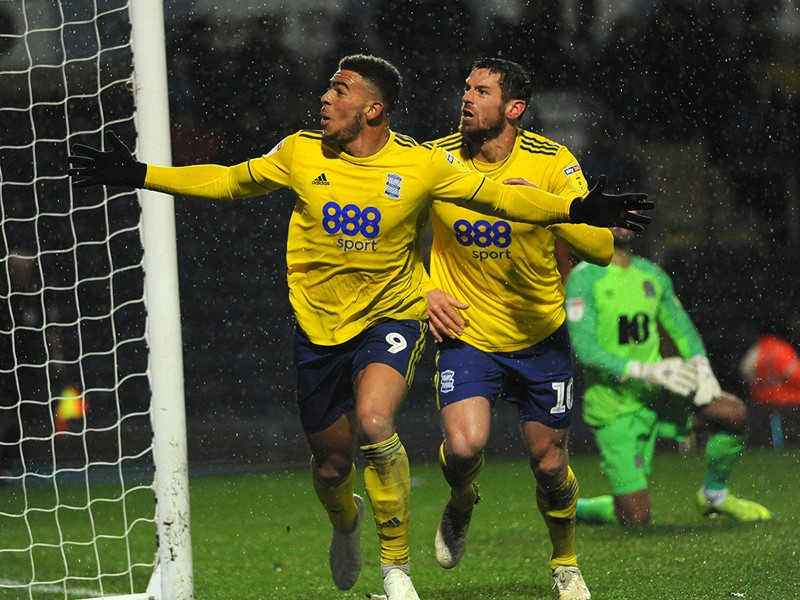 Che Adams celebrates Blues' late equaliser with Lukas Jutkiewicz.