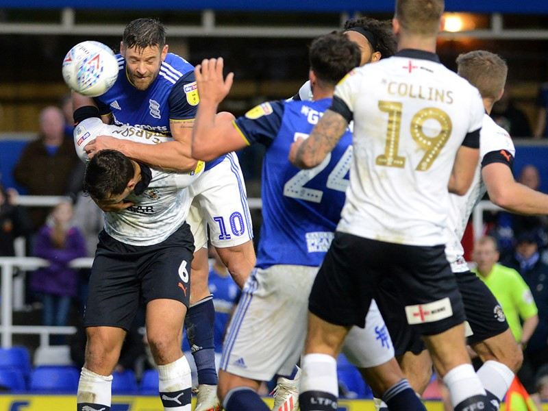 Lukas Jutkiewicz heads home Blues' winner against Luton.