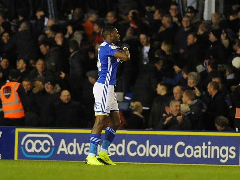 Omar Bogle celebrates his first Blues goal.