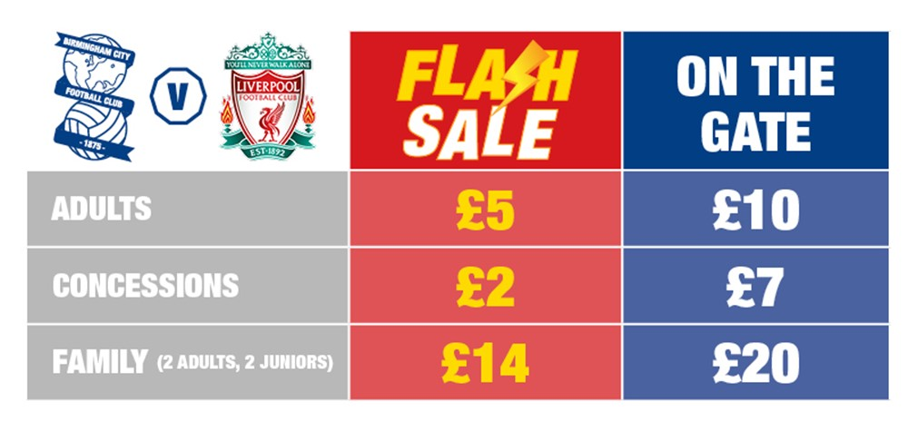 48 Hour Flash Sale For Blues V Liverpool Tickets