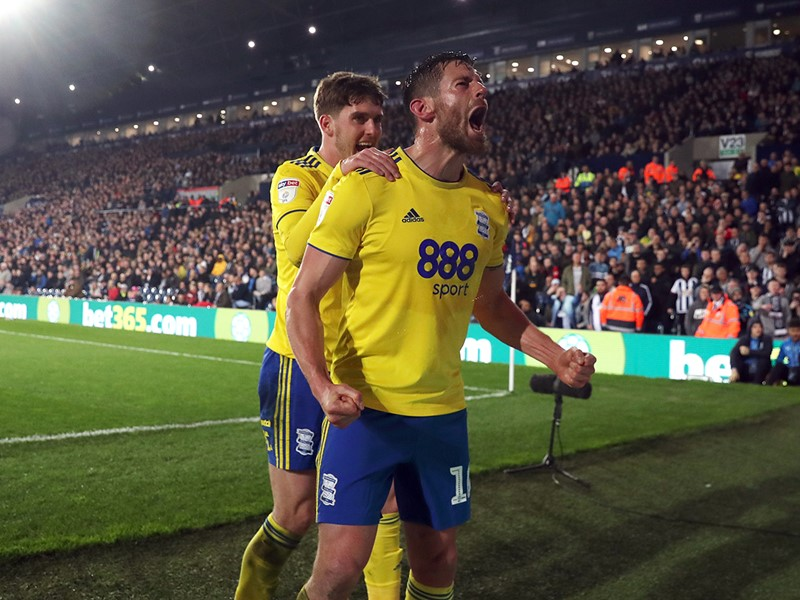 Lukas Jutkiewicz celebrates after scoring against the Baggies.
