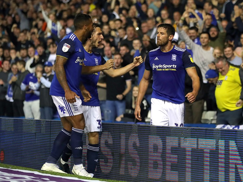The Juke is congratulated by his teammates after heading Blues in front against Barnsley.
