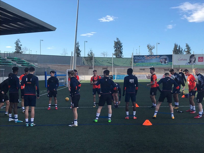 Blues Development squad players training at UE Cornella.