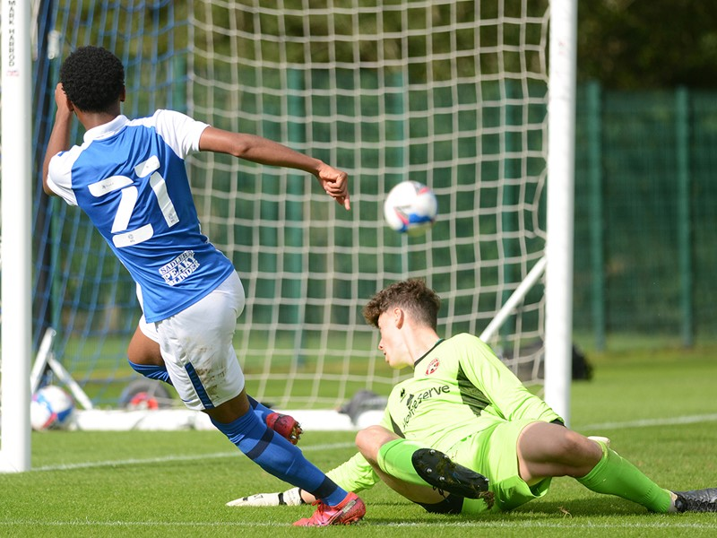 Amari Miller bags Blues' second goal against The Saddlers.