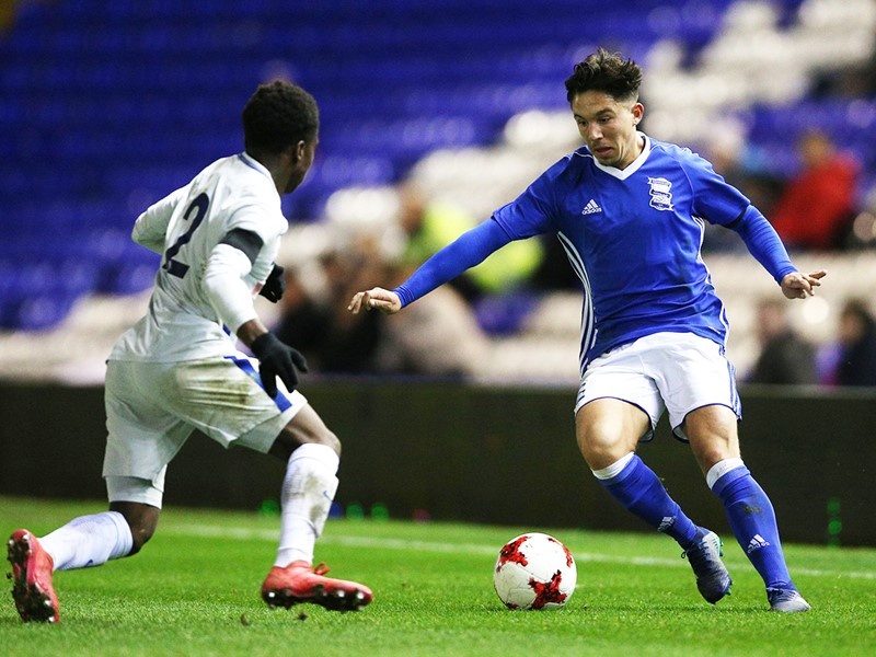 Tommy Anderson in action for Blues Under-18s against Chelsea.