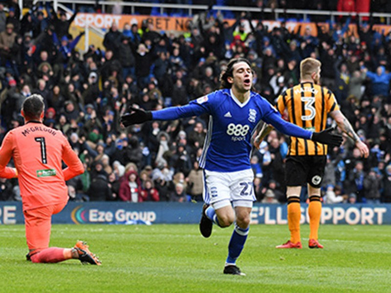 Jota celebrates after scoring in Blues' win against Hull City at the weekend.