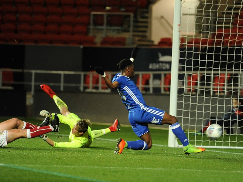 Nick Okoro fires home Blues' second goal at Ashton Gate.