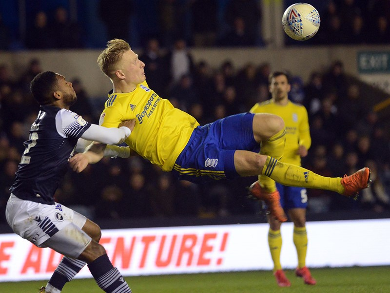 Kristian Pedersen attempts an overhead kick against Millwall.