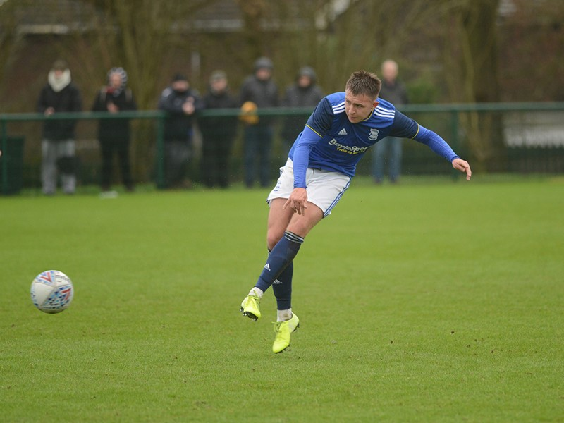 Caolan Boyd-Munce fires home Blues' goal.