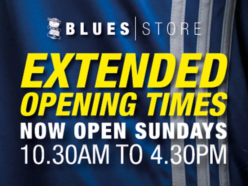 Blues Store extended opening hours