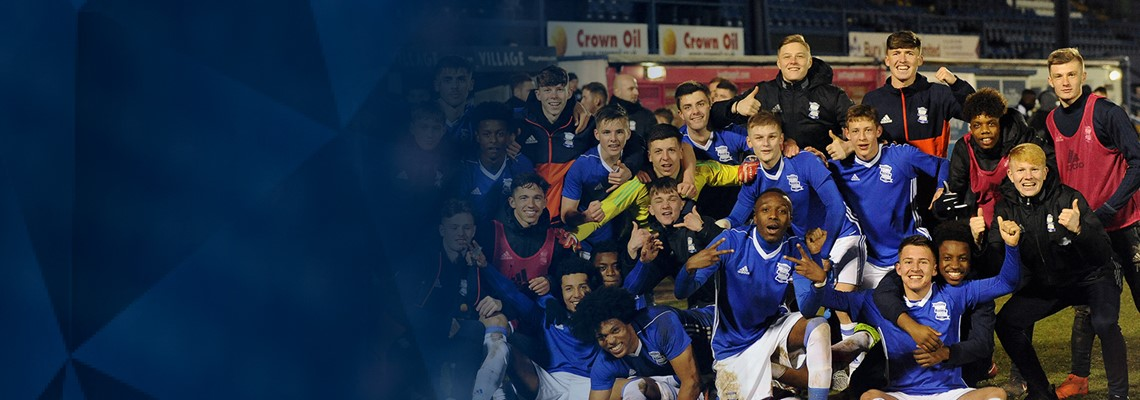 The Under-18s squad celebrate after their FA  Youth Cup success.