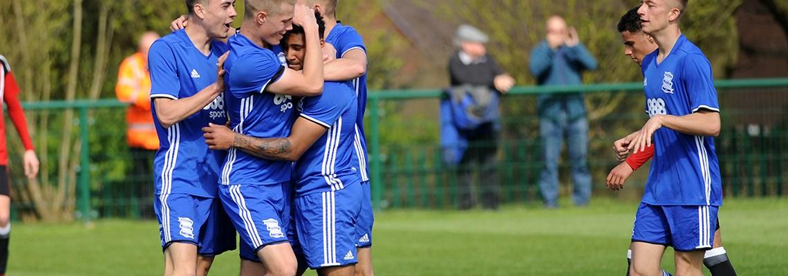Under-23s celebrate a goal