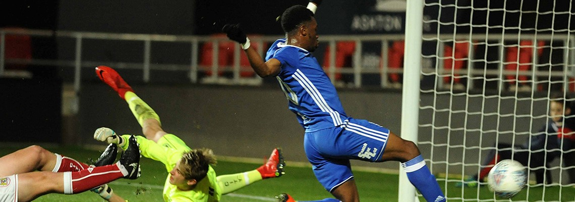 Nick Okoro fires home Blues' second goal at Ashton Gate.