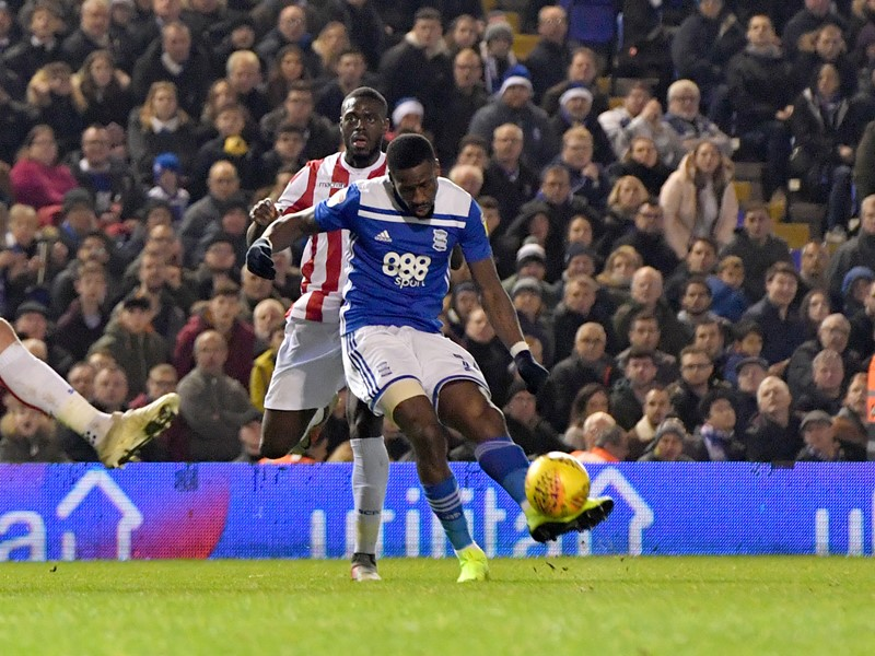 Omar Bogle fires home Blues' second goal in the win against Stoke.