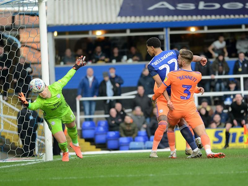 Jude Bellingham fires home Blues' goal against The Bluebirds.