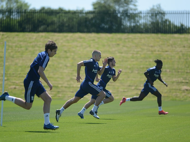 Blues youngsters during training with the First Team.