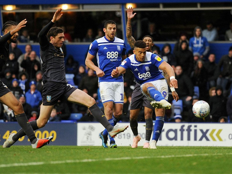 Che Adams fires home Blues' third goal.