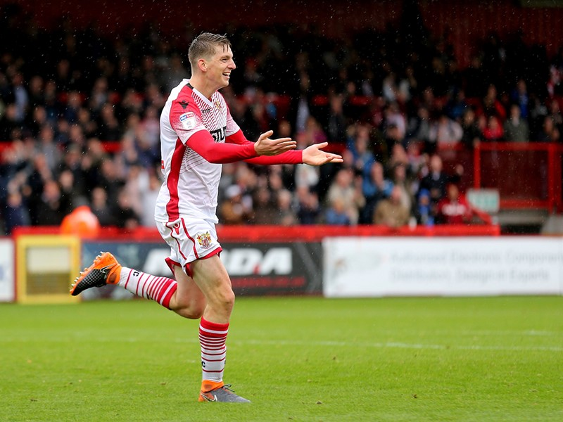 Steve Seddon celebrates after scoring Stevenage's winner.