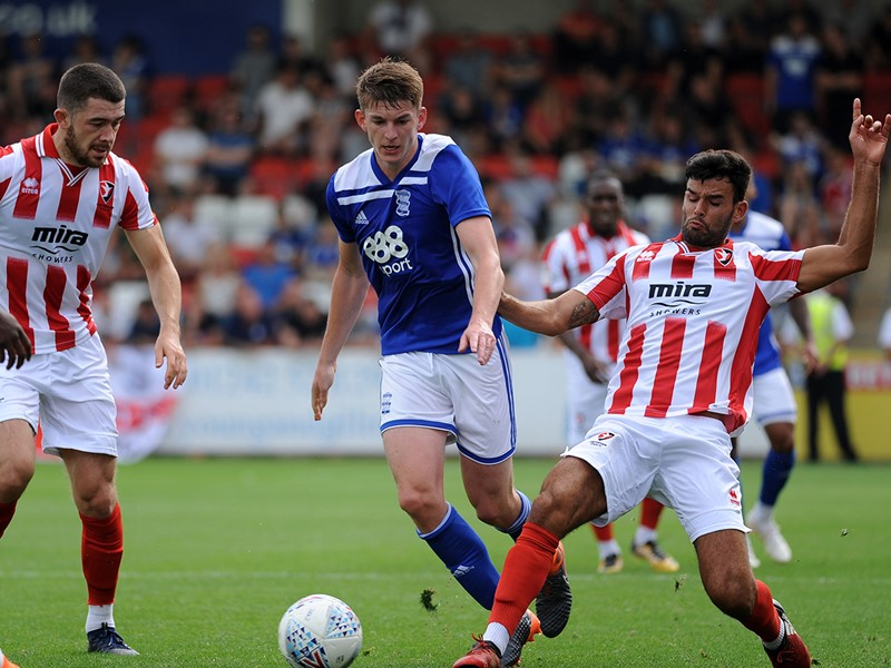 Steve Seddon in action for Blues during the pre-season friendly against Cheltenham Town.