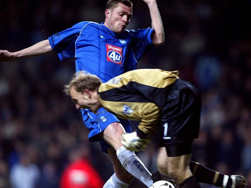 Geoff Horsfield scores against Villa.