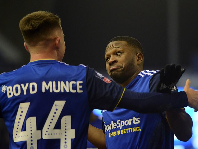 Jeremie Bela's reaction after scoring Blues' late equaliser.