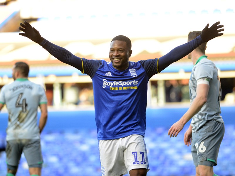 Jeremie Bela celebrates after scoring the late winner against Rovers.