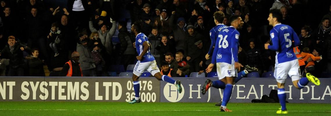 Jacques Maghoma celebrates his goal against Leeds United.