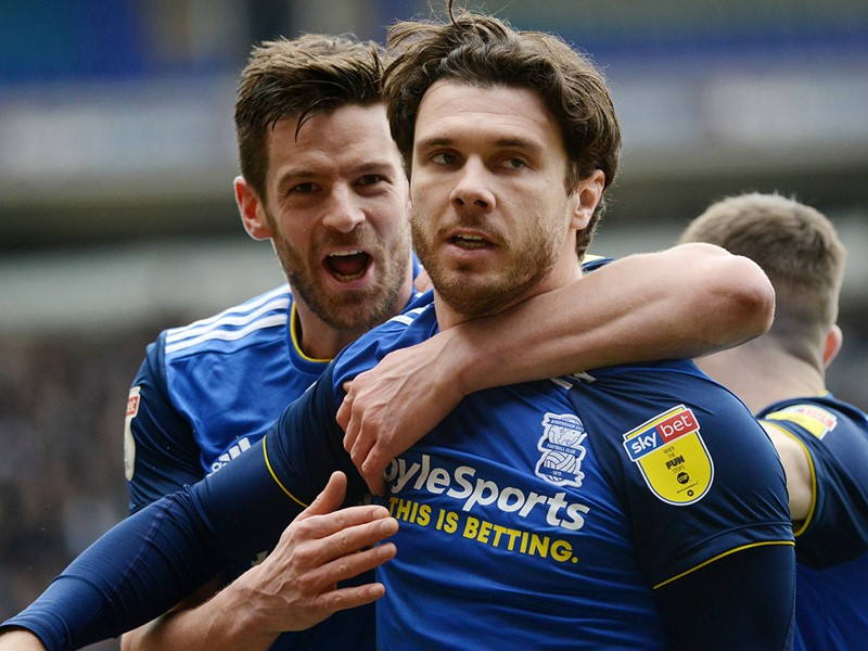 Lukas Jutkiewicz celebrates with Scott Hogan after Hogan scores an early goal for Blues against The Royals.