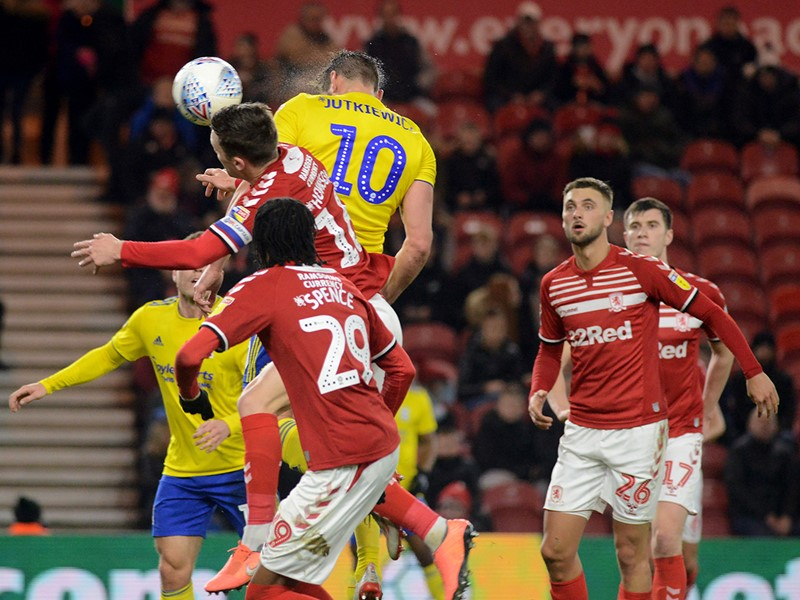 Lukas Jutkiewicz heads home Blues' opener against Boro.